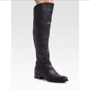 Alberto Fermani Black Leather Over The Knee Boot